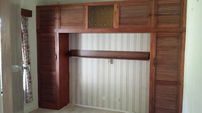 Vintage Brown Louvre Inbuilt Bed Surround -Two Wardrobes And Overhead Cupboard