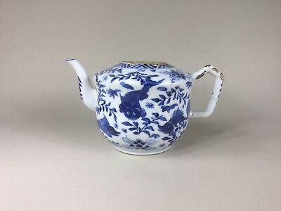 Kangxi Blue & White Teapot - Carp / Fish - Unusual Shape