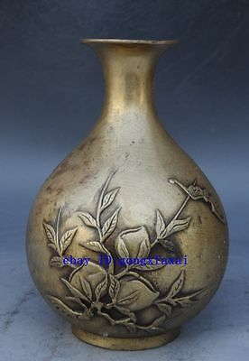 Chinese brass carved beautiful peach hand copper Vase Statue /qianlong mark