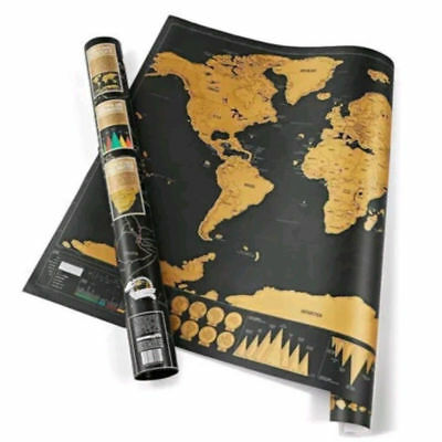 NEW Deluxe Travel Edition Scratch Off World Map Poster Personalized Log Gift