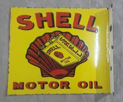 """SHELL MOTOR OIL  Enamel Sign SIZE 20.5"""" X 18"""" INCHES  DOUBLE  SIDED FLANGE"""