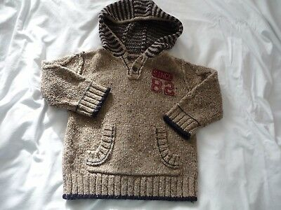 Boys knitted NEXT jumper with hood  Age 2-3 years, light brown with navy stripe