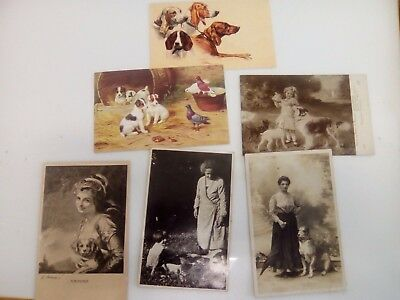 Lot set ORIGINAL VINTAGE  REAL PHOTO  6 POSTCARDS YOUNG LADY women  WITH DOG.