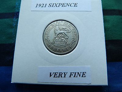 VERY FINE? 1921 SIXPENCE (Silver .500)  George V