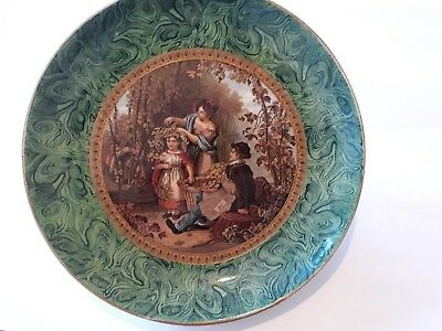 Excellent F&r Prattware Cabinet Plate - The Hop Queen With Malachite Border