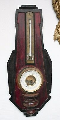 ANTIQUE FRENCH WALL BAROMETER & Thermometer Mahogany Wood 17.5''