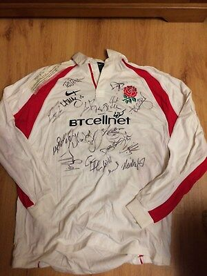 Hand Signed 2001 England Rugby Union Shirt
