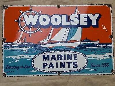 """WOOLSEY MARINE PAINTS    Enamel Sign SIZE 22"""" X 34""""  INCHES"""