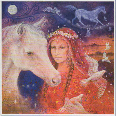 PAGAN WICCAN GREETING CARDS Rhiannon Horse Maiden GODDESS Blank WENDY ANDREW
