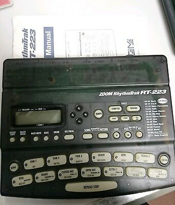 ZOOM RhythmTrak 223 RT-223 Drum Machine Bass Synth Battery + Power adaptor