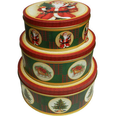 Christmas Decoration Gifts Candy Cookie Biscuit Tin Metal Round Box 3 Pieces Set