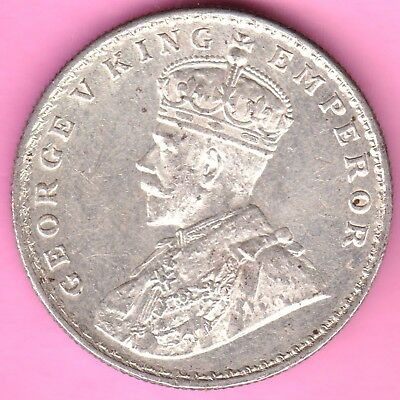 British India-1919-One Rupee-King George V-Rarest Beautiful Silver Coin-9
