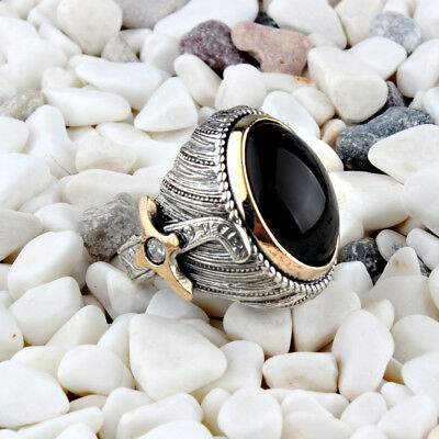 Handmade 925 SILVER Turkish rings Onyx stone for Men all sizes jewelry RRP £40