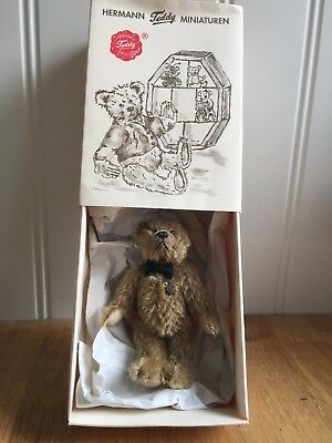 Beautiful Teddy Bear Hermann Fully Jointed Collectable Miniature with Tags & Box
