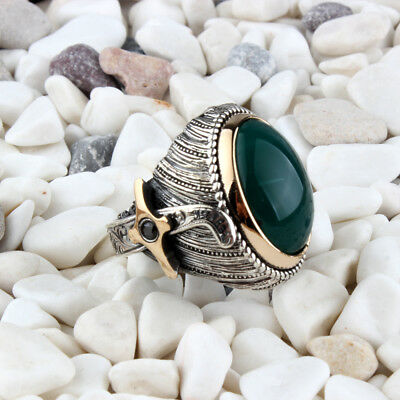 Handmade 925 SILVER Turkish Green agate rings for Men all sizes jewelry RRP £40