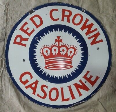 """RED CROWN GASOLINE Enamel Sign SIZE 30"""" ROUND DOUBLE SIDED"""