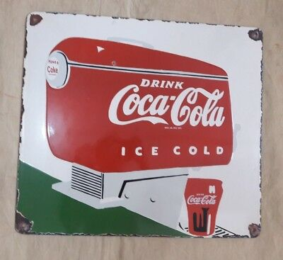 """DRINK COCA-COLA  Enamel Sign SIZE 16"""" X 18""""  INCHES"""