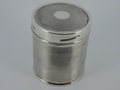 Solid Sterling Silver Engine Turned Tea Caddy Sheffield 1945 Mappin & Webb 107G