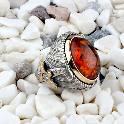 Handmade 925 SILVER Turkish amber stone rings for Men all sizes jewelry RRP £40