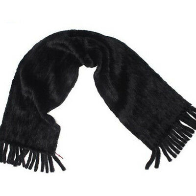 New women 's Fashion /real mink fur knitted Black scarf Size 140*12cm