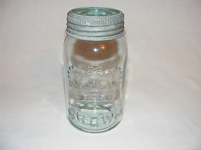 Antique Crown Qt Aqua Blue Glass Preserve Canning Jar & Lid Canada  A++