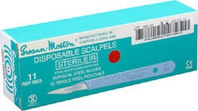 Swann-Morton Sterile Disposable Scalpels with handle No 11 - REF 0503
