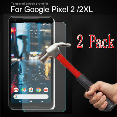 1/2-Pack  Google Pixel 2 XL amFilm Full Cover Tempered Glass Screen Protect