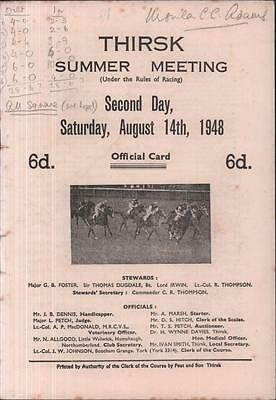 1948 Thirsk Horse Racing Programme 1940s Meeting Yorkshire Race Card