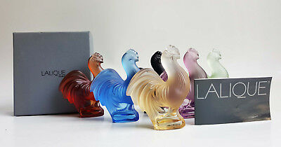 Lalique France, 6 Cut Crystal Coloured Roosters With Boxes (Baccarat Daum)
