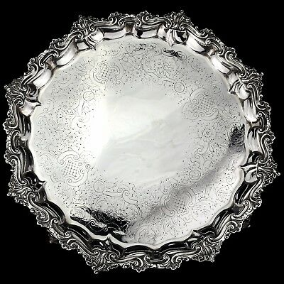 Antique Ornate George III Solid Sterling Silver Salver/Tray London 1787, 1,230g.