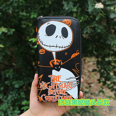 New Fashion Nightmare Before Christmas Jack Skellington Wallet Long Zipper Purse
