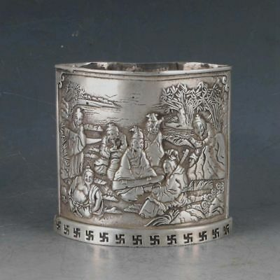 Chinese Rare Silvering Copper Brush Pot Made By The Royal Kangxi BT0089