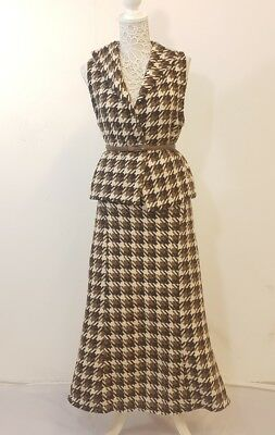Genuine 1940's 1950's Ladoes Wool Dogtooth Vintage 2 Peice Skirt Suit Size 12
