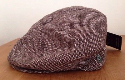Jaxon Brown Marl Tweed 8 Panel Wool Newsboy Peaky Blinders Style Flat Cap Hat M