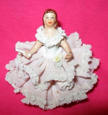 DRESDEN LADY FIGURINE WITH LACE - Antique