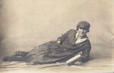 WWI Female Ammunition Factory Worker. Real Photographic Postcard.
