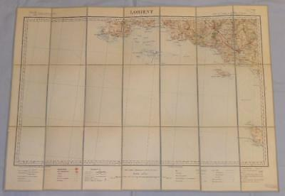 Antique French Army Linen Map - Number 29 - Lorient 1895