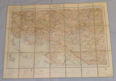 Antique French Army Linen Map - Number 30 - Vannes 1895
