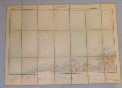 Antique French Army Linen Map Number 12 - Lannion Britanny 1895