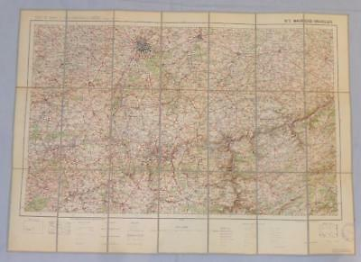Antique French Army Linen Map Number 5 Maubeuge Bruxelles 1912