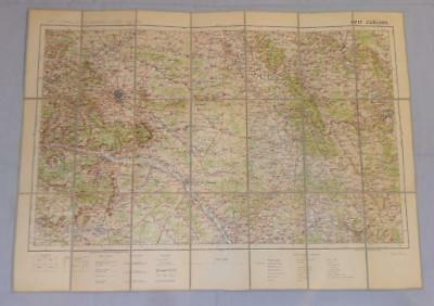 Antique French Army Linen Map Number 17 - Chalons