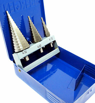 3pc HSS Step Stepped Cone Drill Drils  Set 4mm-32mm US Pro 2604