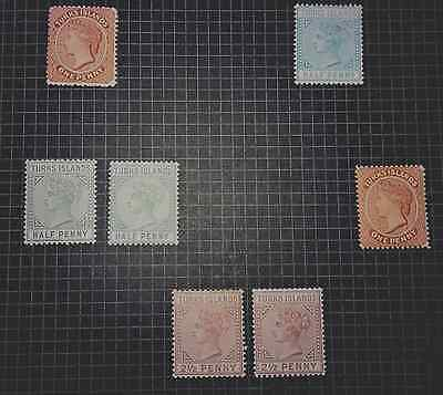 Mint & Used Turks & Caicos Islands 1881-1885. 7 Stamps.