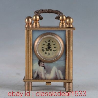 Vintage Collectible Old Chinese Brass Handwork Mechanincal Globe Clock PA1169