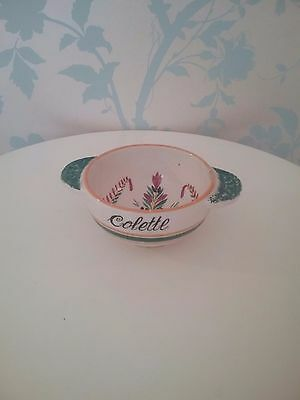 Vintage French Quimper coffe bowl