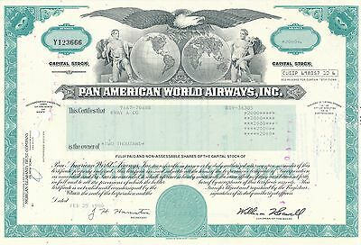 Pan American World Airways Aktie USA Fluglinie Luftfahrt Transport Pan Am 1980