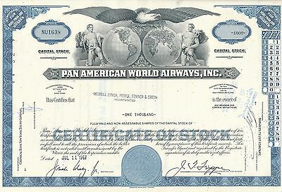 Pan American World Airways Aktie USA Fluglinie Luftfahrt Transport Pan Am 1967