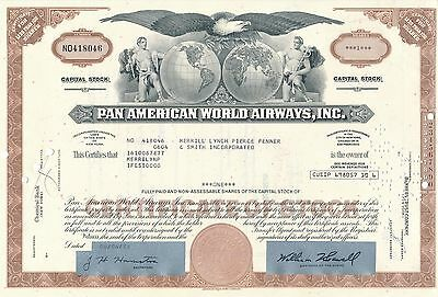 Pan American World Airways Aktie USA Fluglinie Luftfahrt Transport Pan Am 1973