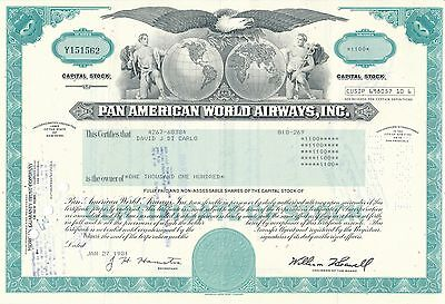 Pan American World Airways Aktie USA Fluglinie Luftfahrt Transport Pan Am 1981