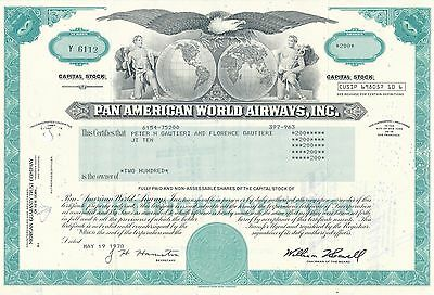 Pan American World Airways Aktie USA Fluglinie Luftfahrt Transport Pan Am 1978